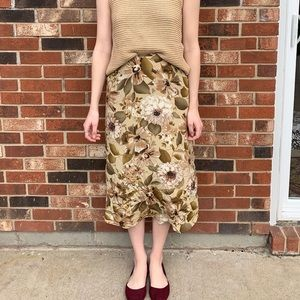 Vintage Silk Bias Cut Floral Midi Skirt